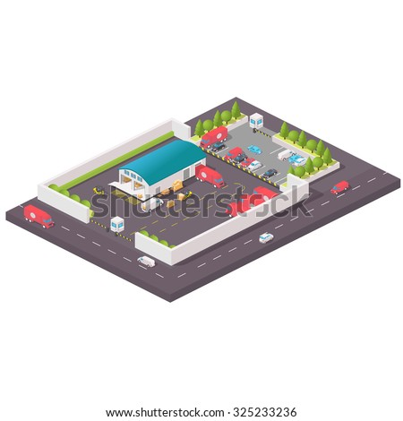 Vector isometric warehouse building icon. Isometric distribution warehouse with trucks loading and unloading goods. Isometric Factory distribution warehouse. Manufacturer distributing goods. - stock vector