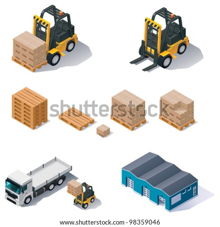 Vector isometric warehouse equipment icon set. Included forklift, boxes with pallets, warehouse building and truck - stock vector