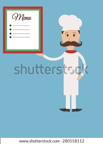 Vector Italian cook flat character with mustache and menu template