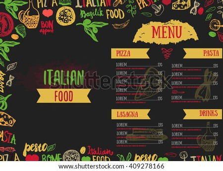 Vector Italian Menu Vector Template, with Various Groceries: Pasta, Vegetables, pizza and Mushrooms and hand drawn lettering. - stock vector