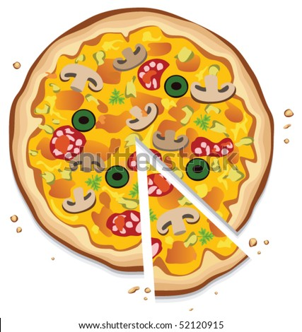 vector italian pizza with a slice, on white background - stock vector