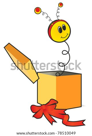 vector jack-in-the-box joke present isolated on white surprise - stock vector