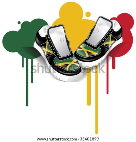 Vector jamaican flag sneakers graffiti stock vector 33401899 vector jamaican flag sneakers and graffiti voltagebd Gallery