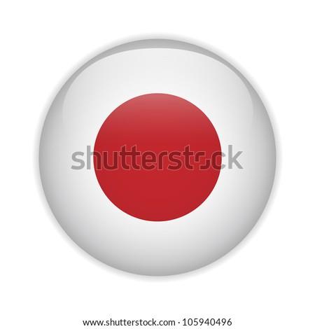 Vector - Japan Flag Glossy Button - stock vector