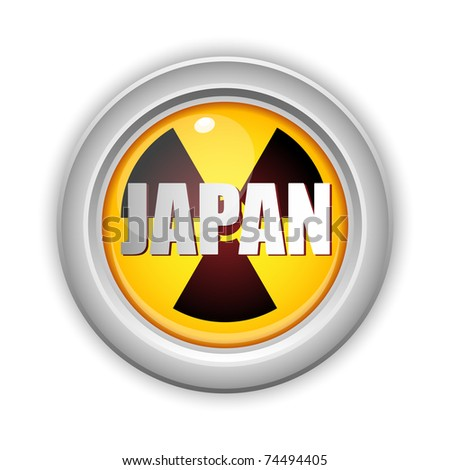 Vector - Japan Nuclear Disaster Yellow Button - stock vector