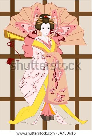 vector japanese geisha with a fan - stock vector