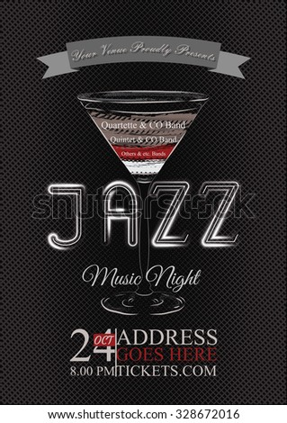 Vector jazz, rock or blues music poster template. Abstract background for card, flyer, leaflet, brochure, banner, web design.