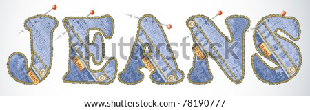 Vector jeans alphabet Fashion jheans texture. See similar in my portfolio - stock vector