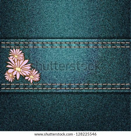 vector jeans background with floral applique - stock vector
