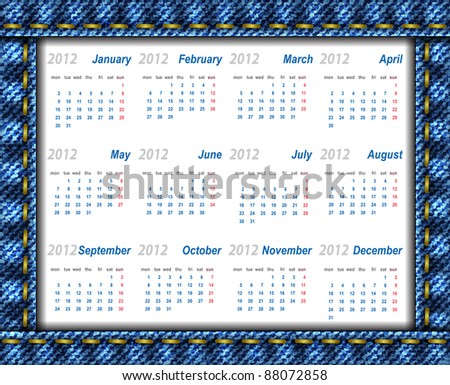 Vector jeans calendar 2012 (week starts on Monday) - stock vector