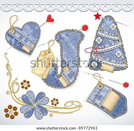 Vector jeans design element set. Denim texture. Heart, flower, tag, label, lace, christmas tree - stock vector