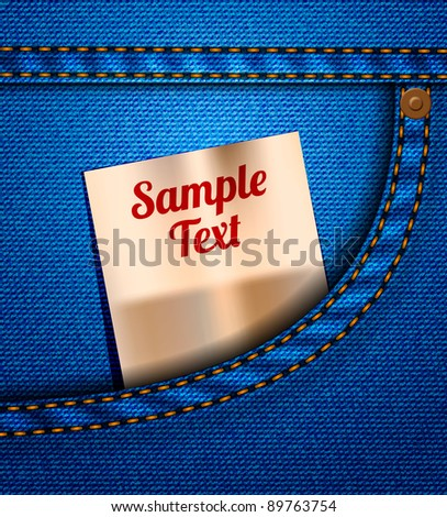 Vector jeans pocket - stock vector