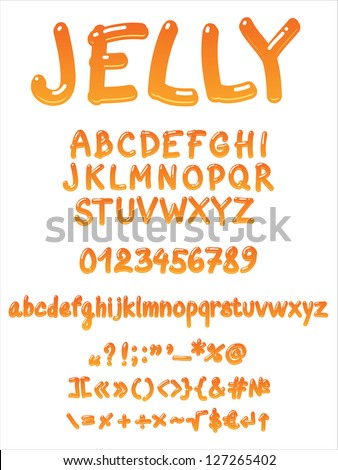 Vector jelly alphabet on a white background - stock vector