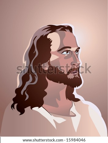 vector Jesus Christ portrait - stock vector