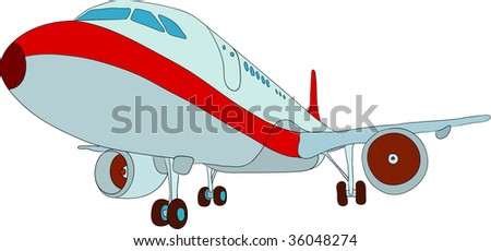 vector - jet plane landing ,isolated on background