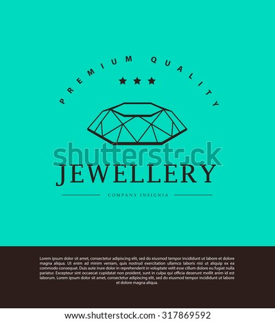Vector jewelry and diamond logo template. Flat crystal company insignia template. Jeweler's brand identity design. - stock vector