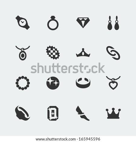 Vector jewelry mini icons set - stock vector