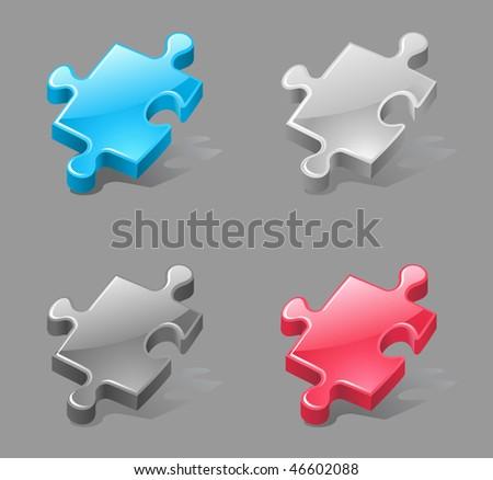 vector jigsaw pieces as plagin icons - stock vector