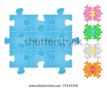Vector jigsaw puzzle - stock vector