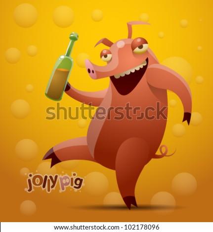 vector jolly pig 2 - stock vector
