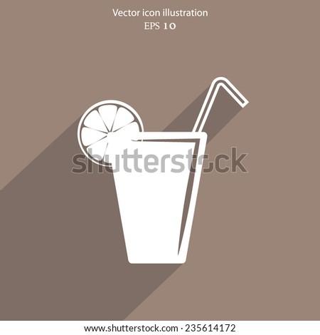 Vector juice glass with lemon, flat design - stock vector