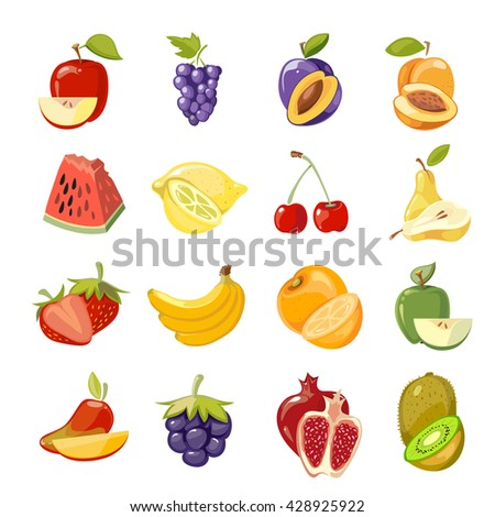 Vector juicy fruits collection. Fruit food set fresh, orange sweet and nature lemon fruit illustration - stock vector