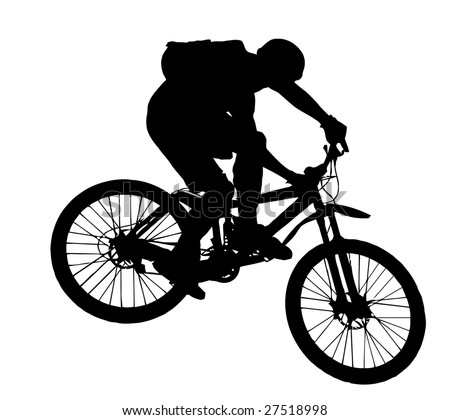 vector jump with a mountain bike - silhouette - stock vector