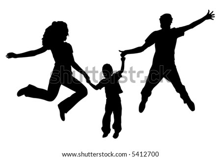 vector jumping family. spring. - stock vector