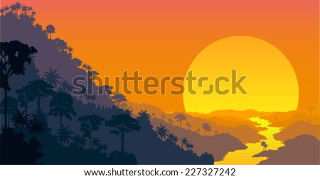 vector Jungle at sunset background illustration - stock vector