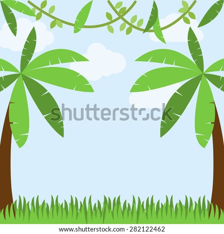 Vector Jungle Background with Palm Trees, Grass, Sky, Clouds and Vines - stock vector