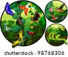 Vector jungle label with butterflies, snake and hummingbirds - stock vector