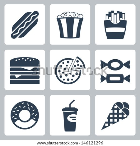 Vector junk food icons set - stock vector