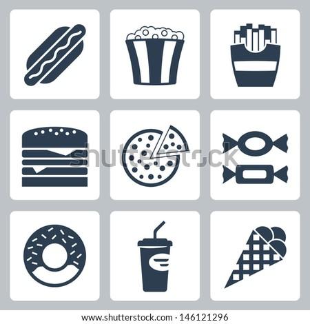 Vector junk food icons set - stock vector