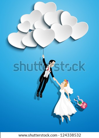 Vector - Just married couple flying with a heart shaped balloon - stock vector