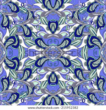 Vector kaleidoscopic seamless pattern in blue color. Hand drawn lined pattern. Illustration.