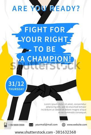 vector karate competition flyer template slogan stock vector 381632368 shutterstock. Black Bedroom Furniture Sets. Home Design Ideas