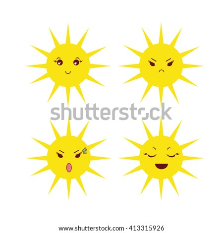 Vector kawaii icon set, cute sun with different face expression, muzzles. Happy, angry, grumpy, sly, cry, fun. Flat cartoon style. Isolated on white background - stock vector