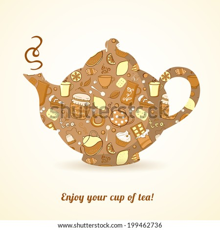 Vector kettle with tea pattern isolated  background, template flat teapot shape - stock vector
