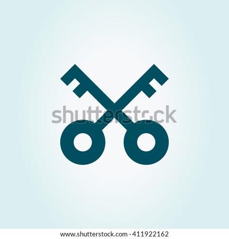 Vector Key Icon. Retro Sign. Vintage Symbol - stock vector