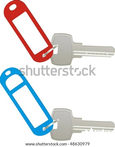 vector keys with blank labels - stock vector