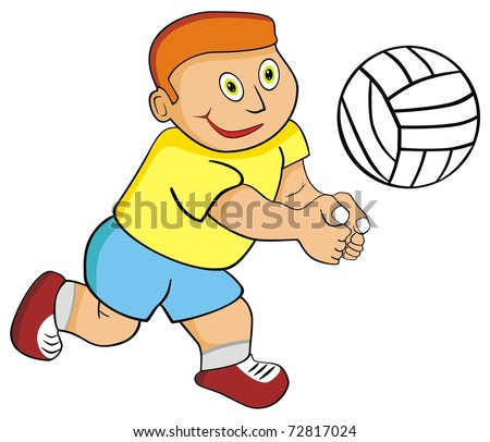 VECTOR - Kid Boy Playing Volleyball - stock vector