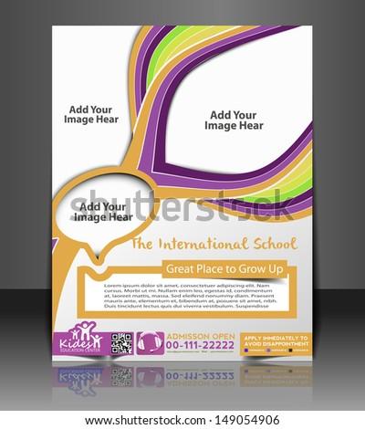 Vector Kid's School Brochure, Flyer, Magazine Cover & Poster Template - stock vector