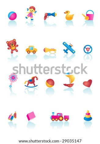 Vector Kid Toys Icon Set - stock vector