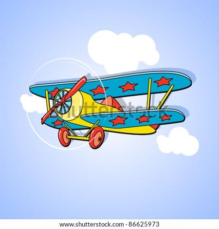 vector kids airplane illustration