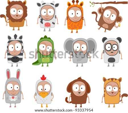 vector kids animal costumes - Separate layers for easy editing - stock vector
