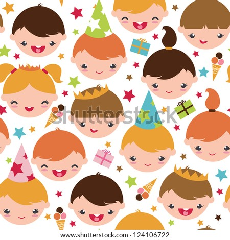 Vector kids at a birthday party seamless pattern background with hand drawn elements. - stock vector