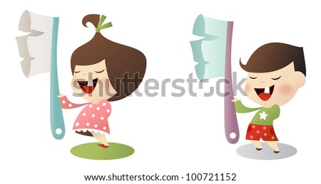 Vector kids with toothbrush - stock vector