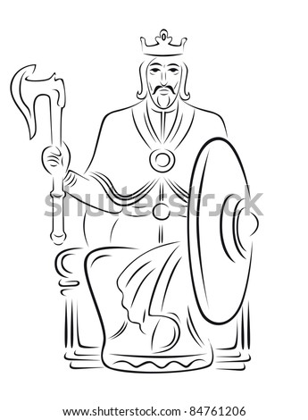 Vector king - warrior sitting on the throne. In one hand, shield in the other battle-ax. - stock vector