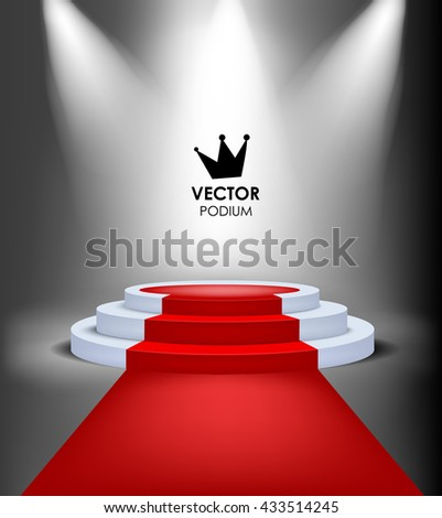vector king winner podium with red carpet highlighted event illuminated stage