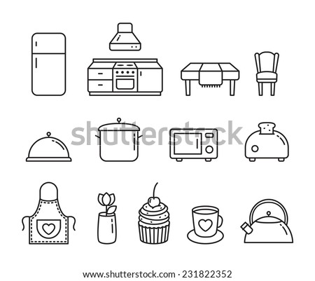 Vector Kitchen flat line icon set - stock vector